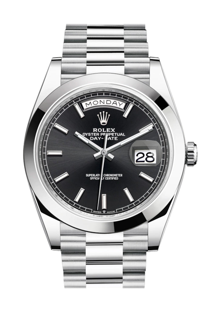 Rolex Day-Date 40 Black Dial Dome Bezel Platinum President Automatic Men's Watch 228206