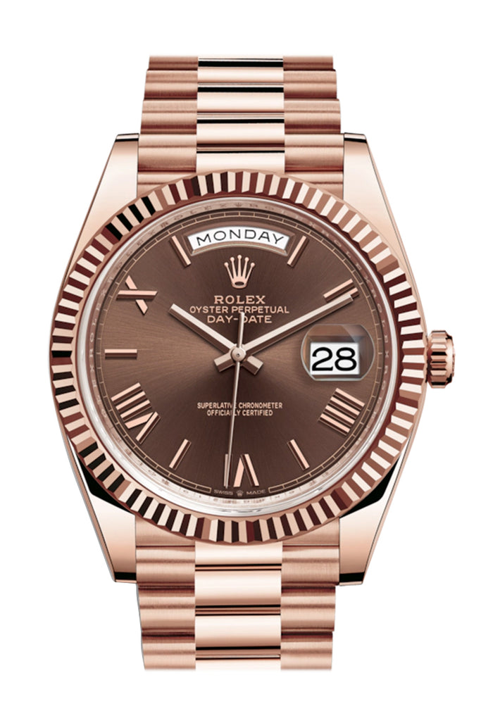 ROLEX Day-date 40 President Chocolate Roman Dial 18k Rose Gold Men's Watch 228235