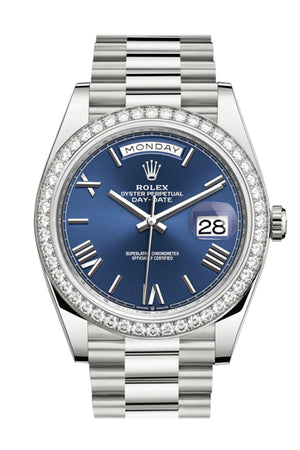 Rolex Day-Date 40 Blue Roman Dial Diamond Bezel White Gold President Automatic Men's Watch 228349RBR 228349
