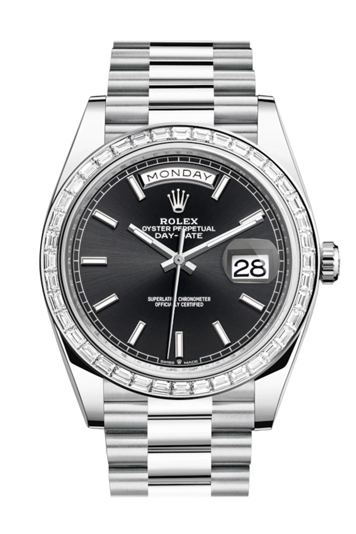 Rolex Day-Date 40 Black Dial 40 Baguette Diamond Bezel Platinum President Automatic Men's Watch 228396TBR