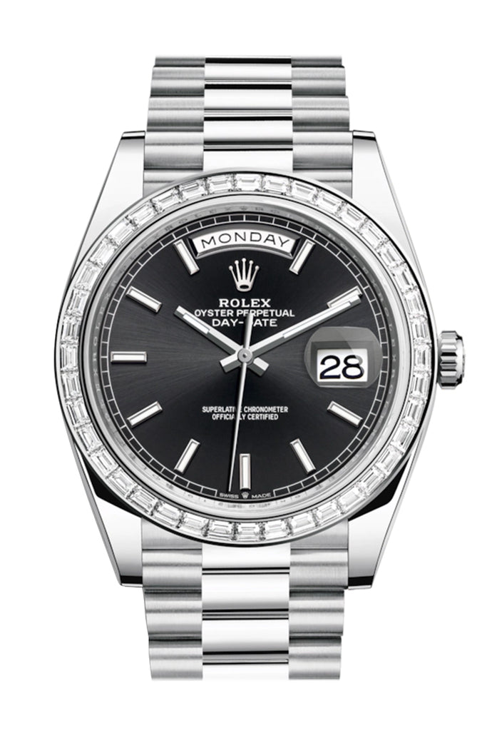 Rolex Day-Date 40 Black Dial 40 Baguette Diamond Bezel Platinum President Automatic Men's Watch 228396TBR 228396