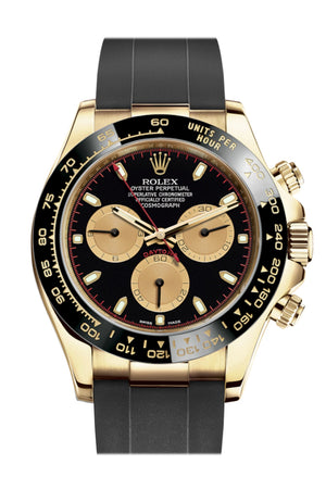 Rolex Cosmograph Daytona Black Champagne Yellow Gold Oysterflex Strap Mens Watch 116518LN 116518