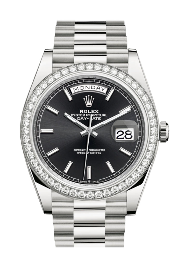 Rolex Day-Date 40 Black Dial Diamond Bezel White Gold President Automatic Men's Watch 228349RBR 228349