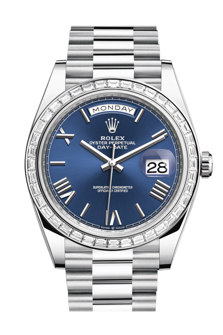 Rolex Day-Date 40 Blue Roman Dial 40 Baguette Diamond Bezel Platinum President Automatic Men's Watch 228396TBR