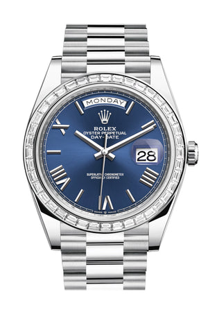 Rolex Day-Date 40 Blue Roman Dial 40 Baguette Diamond Bezel Platinum President Automatic Men's Watch 228396TBR 228396