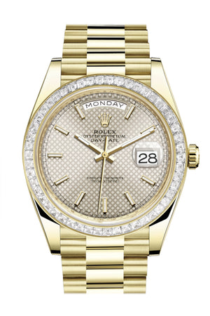 Rolex Day-Date 40 Silver Motif Dial 40 Baguette Diamond Bezel 18K Yellow Gold President Automatic Men's Watch 228398TBR  228398