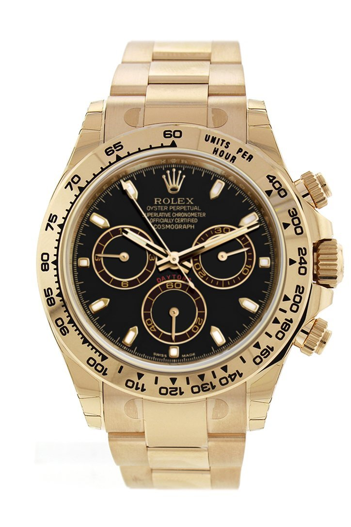 Rolex Cosmograph Daytona Black Dial Gold Mens Watch 116508