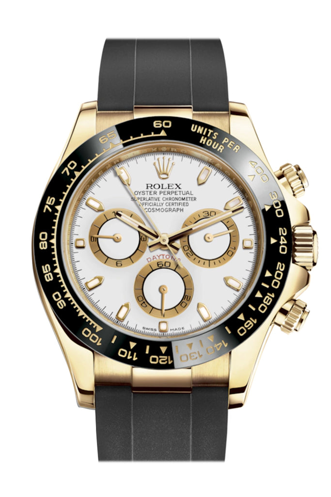 Rolex Cosmograph Daytona White Yellow Gold Oysterflex Strap Mens Watch 116518LN 116518