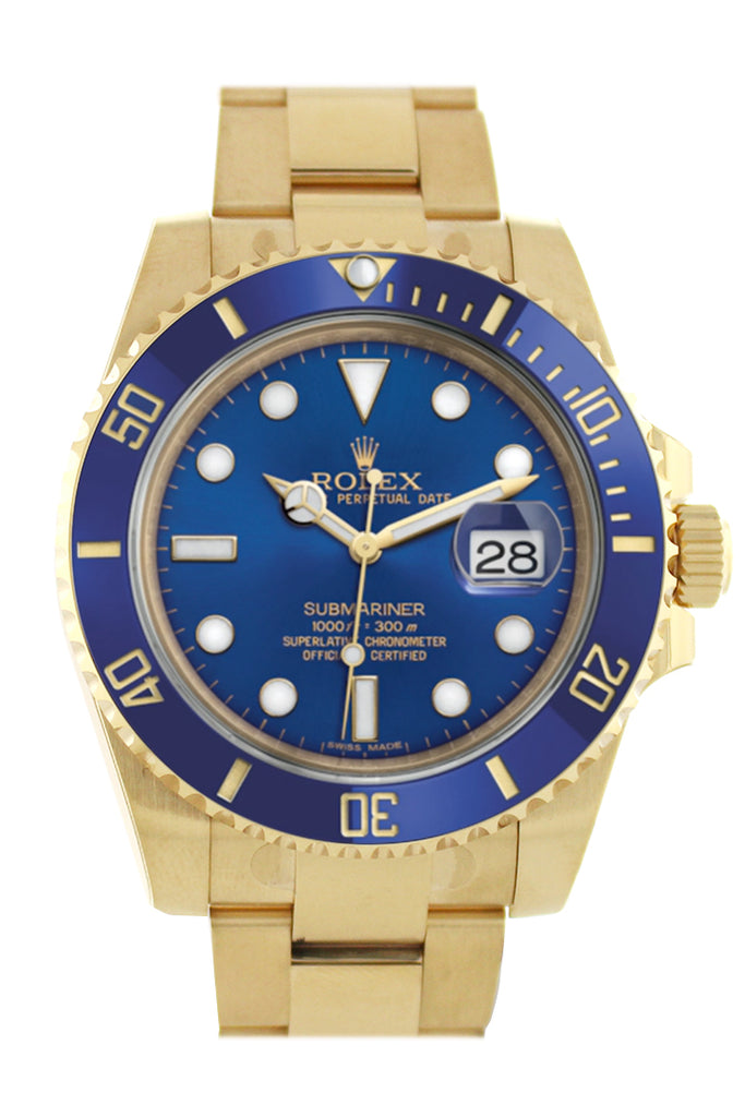 Rolex Submariner Date 40 Blue Dial 18k Yellow Gold Mens Watch 116618LB 116618