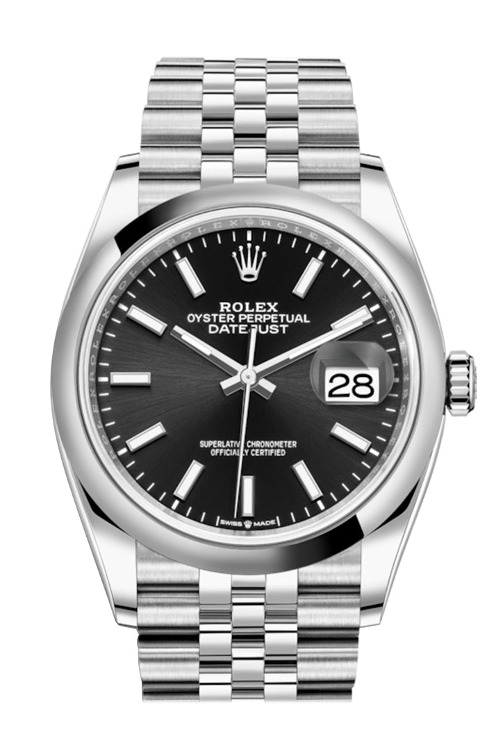 Rolex Datejust 36 Black Dial Automatic Jubilee Watch 126200