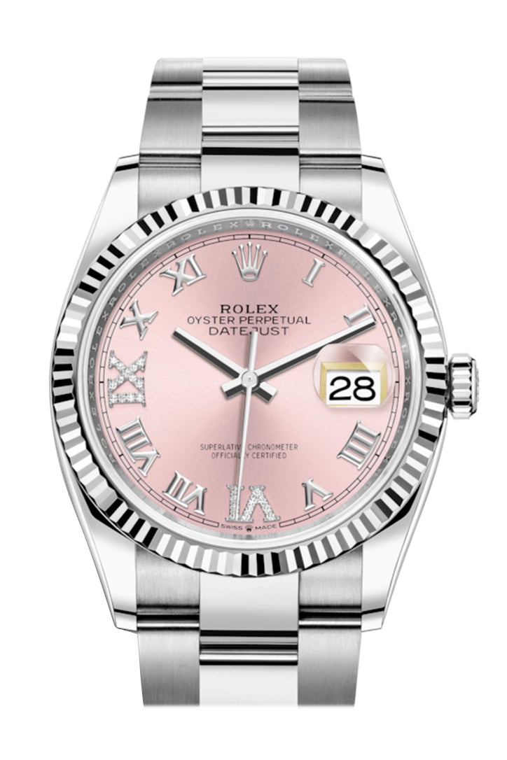 Rolex Datejust 36 Pink Roman VI and IX 24 Diamonds Dial Automatic Watch 126234