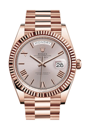 Rolex Day-Date 40 Sundust Roman Dial Fluted Bezel 18K Everose gold President Automatic Men's Watch 228235