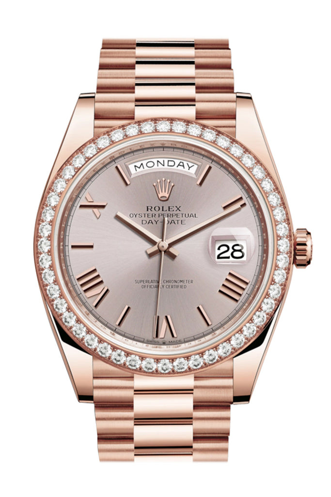 Rolex Day-Date 40 Sundust Roman Dial Diamond Bezel 18K Everose gold President Automatic Men's Watch 228345RBR 228345