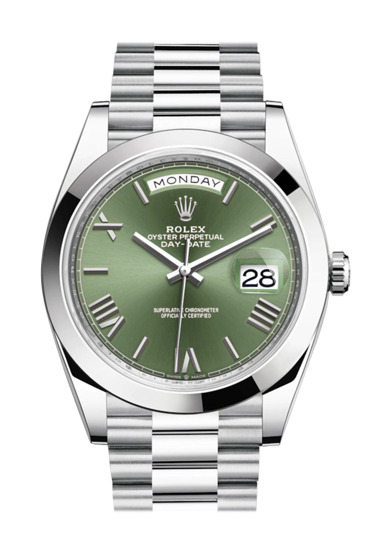 Rolex Day-Date 40 Olive Green Roman Dial Dome Bezel Platinum President Automatic Men's Watch 228206