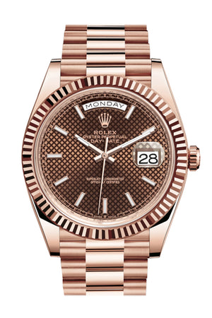 Rolex Day-Date 40 Chocolate Diagonal Motif Dial Fluted Bezel 18K Everose gold President Automatic Men's Watch 228235