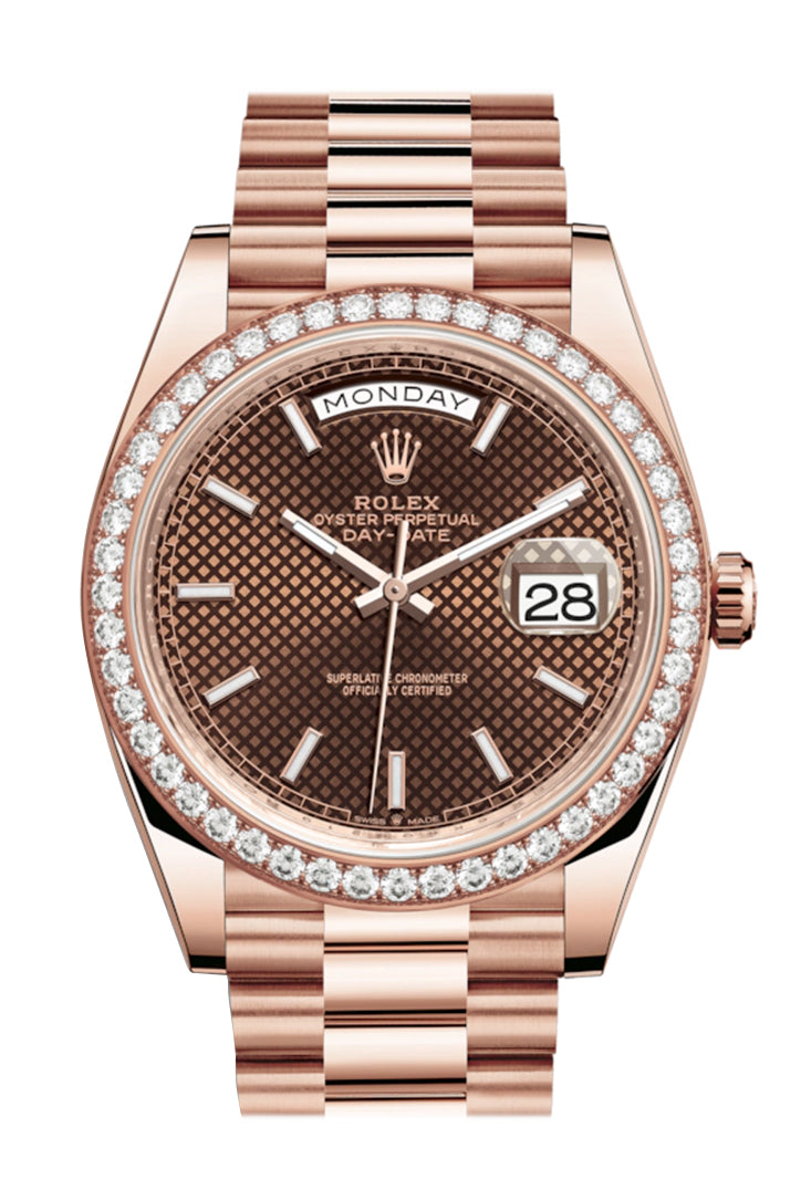 Rolex Day-Date 40 Chocolate Diagonal Motif Dial Diamond Bezel 18K Everose gold President Automatic Men's Watch 228345RBR