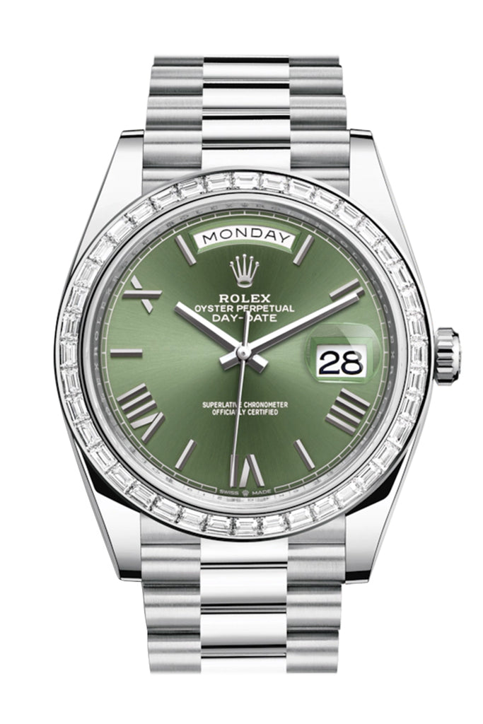 Rolex Day-Date 40 Olive Green Roman Dial 40 Baguette Diamond Bezel Platinum President Automatic Men's Watch 228396TBR 228396