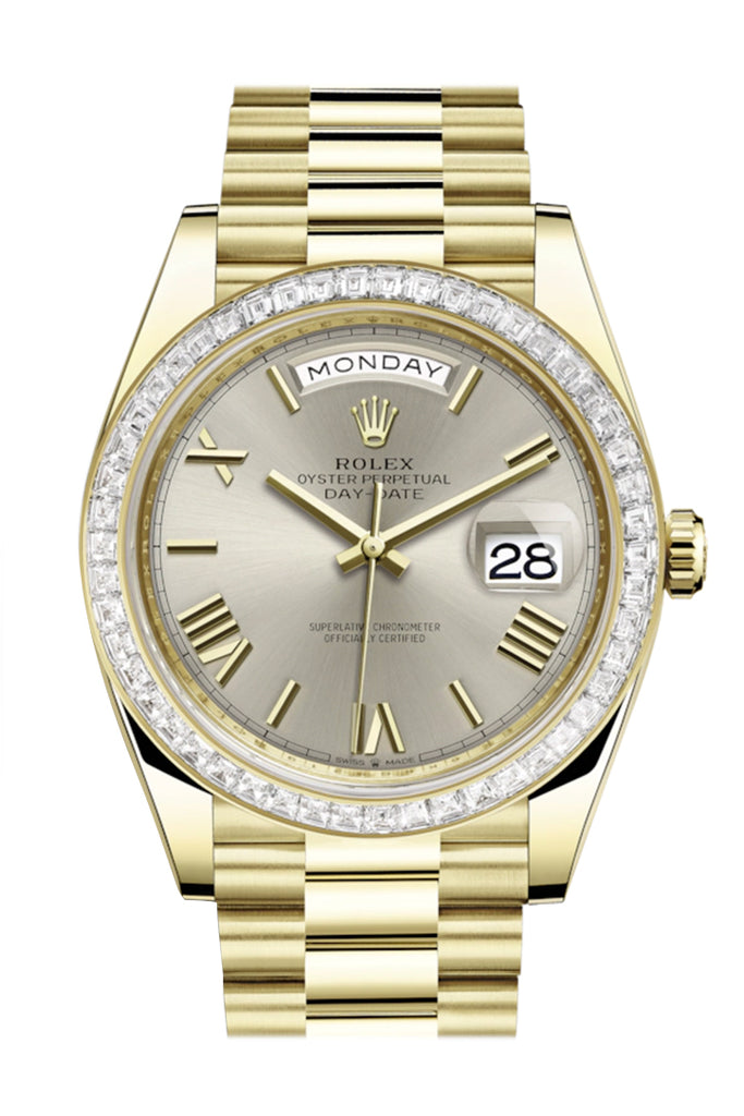 Rolex Day-Date 40 Silver Roman Dial 40 Baguette Diamond Bezel 18K Yellow Gold President Automatic Men's Watch 228398TBR  228398