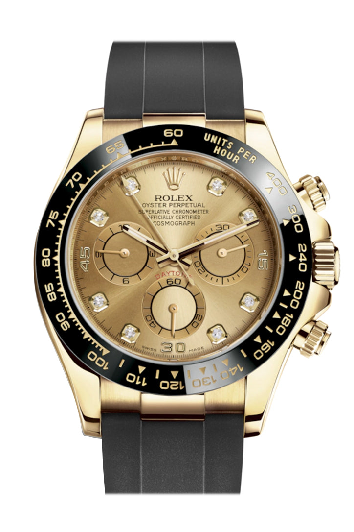 Rolex Cosmograph Daytona Champagne Diamond Yellow Gold Oysterflex Strap Mens Watch 116518LN 116518