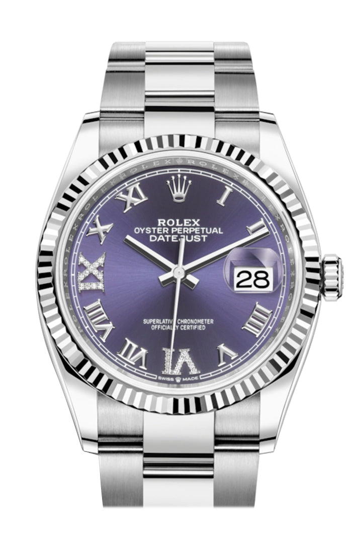 Rolex Datejust 36 Purple Roman VI and IX 24 Diamonds Dial Automatic Watch 126234
