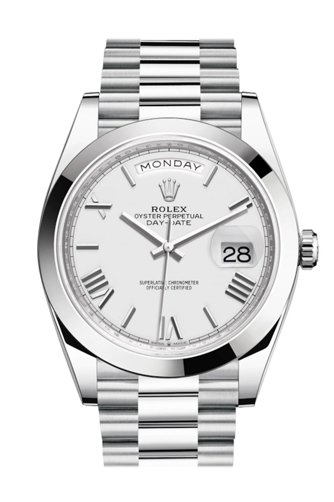 Rolex Day-Date 40 White Roman Dial Dome Bezel Platinum President Automatic Men's Watch 228396TBR 228396