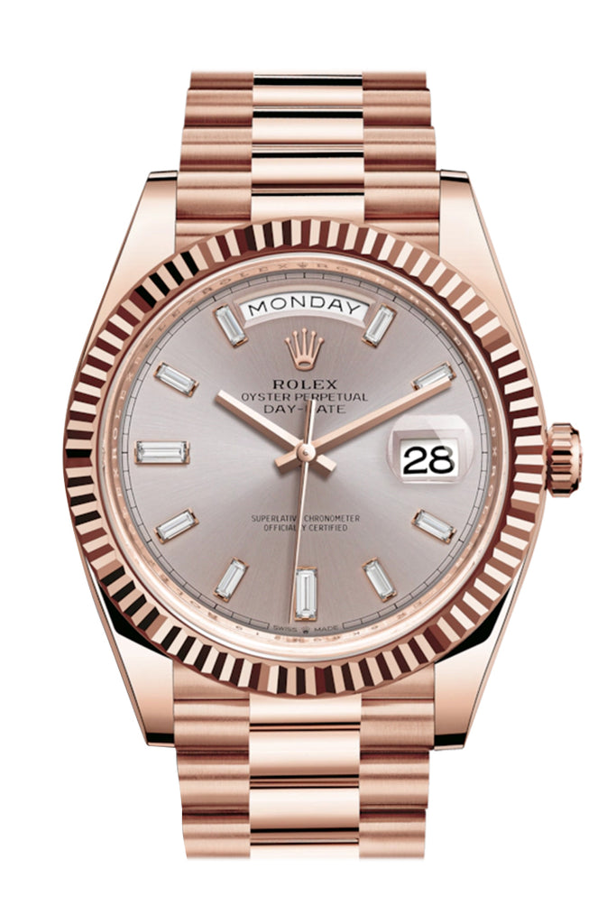 Rolex Day-Date 40 Sundust 10 Baguette-cut Fluted Dial Diamond Bezel 18K Everose gold President Automatic Men's Watch 228235