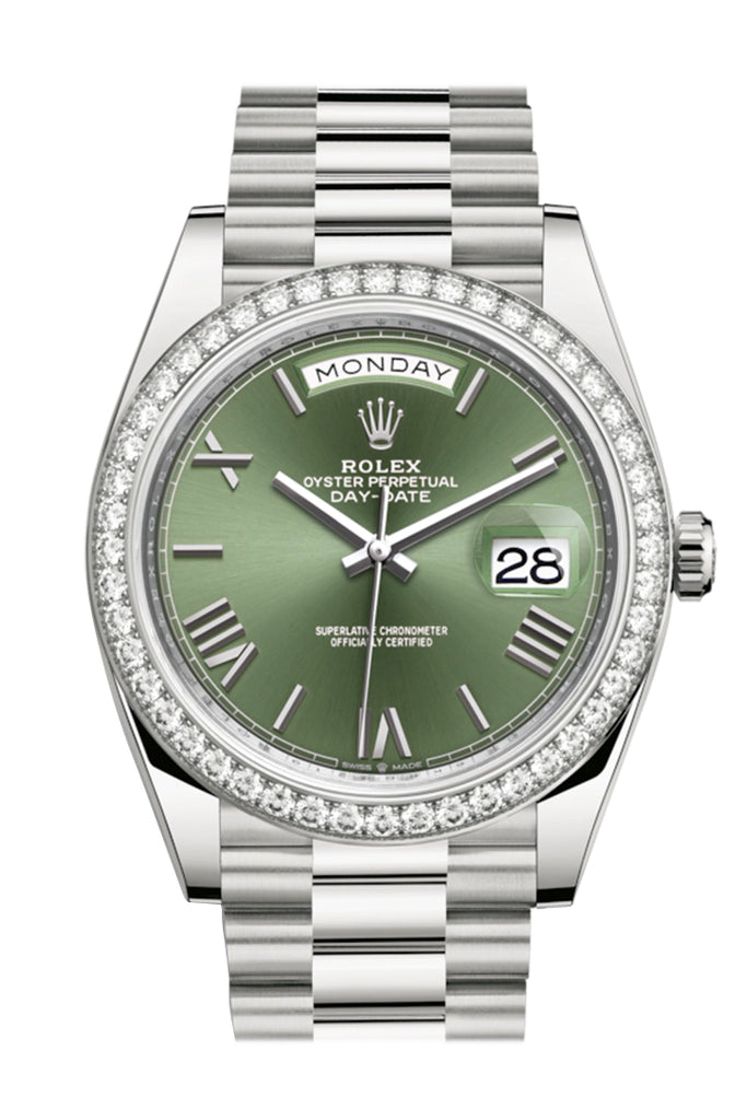 Rolex Day-Date 40 Olive Green Roman Dial Diamond Bezel White Gold President Automatic Men's Watch 228349RBR 228349