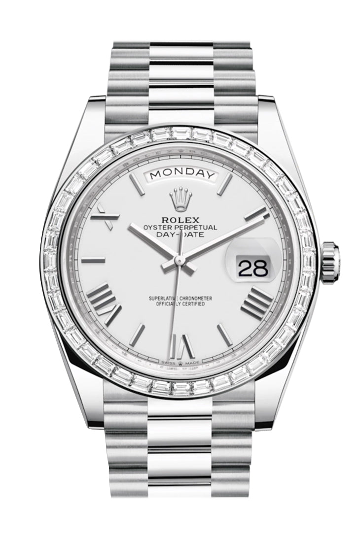 Rolex Day-Date 40 White Roman Dial 40 Baguette Diamond Bezel Platinum President Automatic Men's Watch 228396TBR