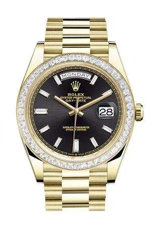 Rolex Day-Date 40 Black Baguette Diamond Dial 40 Baguette Diamond Bezel 18K Yellow Gold President Automatic Men's Watch 228398TBR 228398