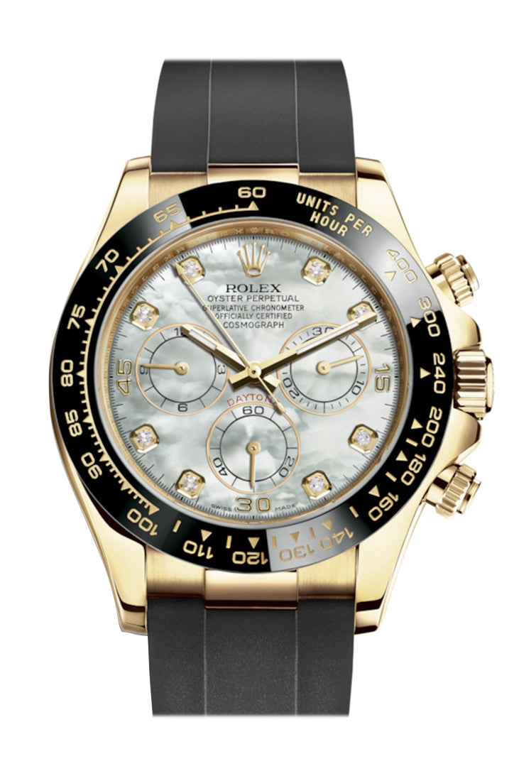 Rolex Cosmograph Daytona White Mother of Pearl  Diamond Yellow Gold Oysterflex Strap Mens Watch 116518LN 116518