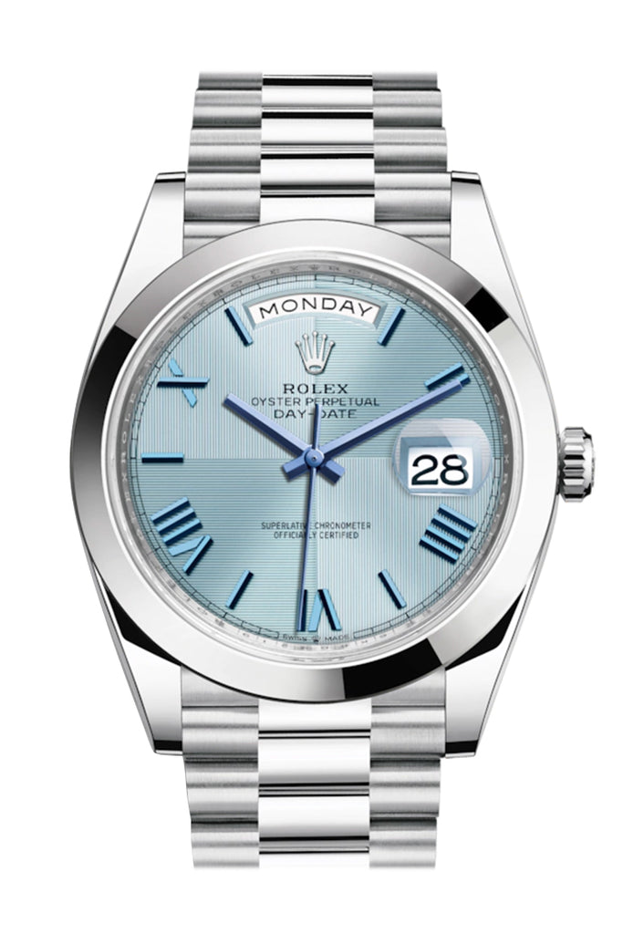 Rolex Day-Date 40 Ice blue Quadrant Motif Dial Dome Bezel Platinum President Automatic Men's Watch 228206