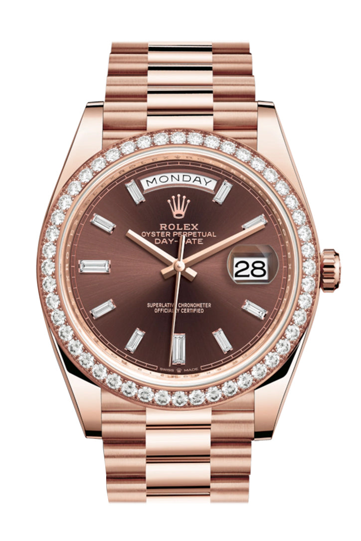 Rolex Day-Date 40 Chocolate 10 Baguette-cut Diamonds  Dial Diamond Bezel 18K Everose gold President Automatic Men's Watch 228345RBR