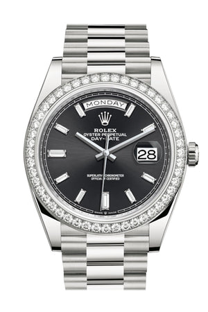 Rolex Day-Date 40 Black Baguette Diamond Dial Diamond Bezel White Gold President Automatic Men's Watch 228349RBR 228349