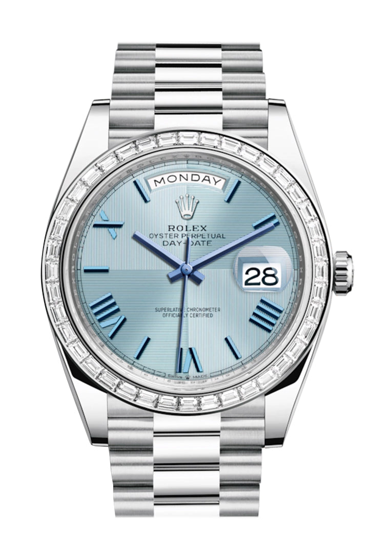 Rolex Day-Date 40 Ice Blue Quadrant Motif Dial 40 Baguette Diamond Bezel Platinum President Automatic Men's Watch 228396TBR