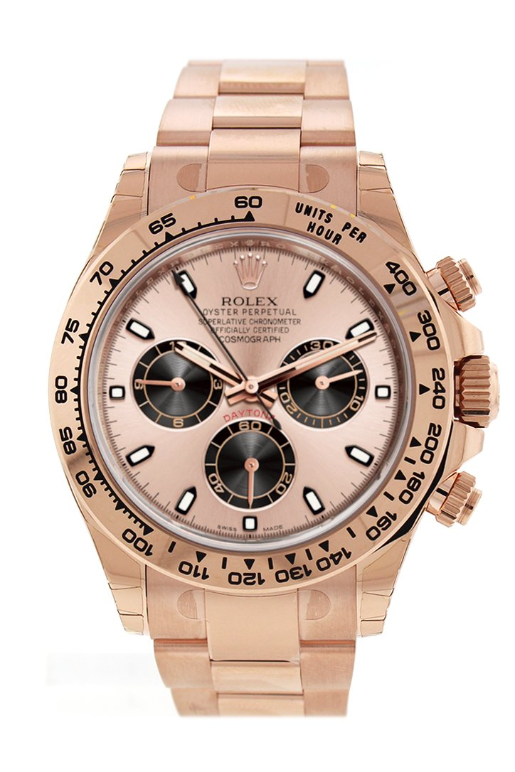 Rolex Cosmograph Daytona 40 Pink And Black Dial 18K Rose Gold Mens Watch 116505 Champagne
