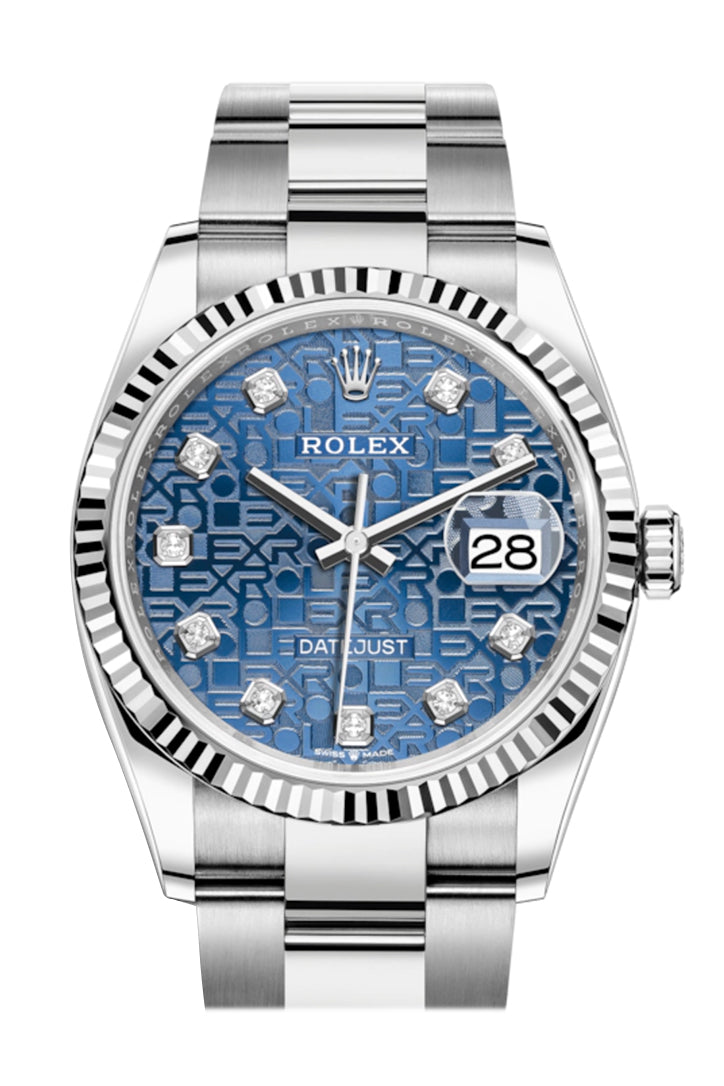 Rolex Datejust 36 Blue Jubilee Diamond Dial Automatic Watch 126234
