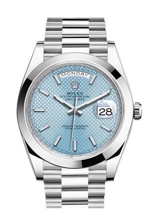 Rolex Day-Date 40 Ice blue Diagonal Motif Roman Dial Dome Bezel Platinum President Automatic Men's Watch 228206