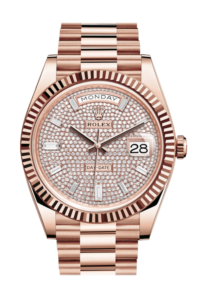 Rolex Day-Date 40 Pave Diamond 10 Baguette-cut Fluted Dial Diamond Bezel 18K Everose gold President Automatic Men's Watch 228235
