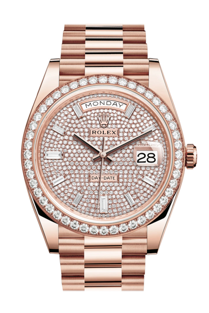 Rolex Day-Date 40 Pave Diamond 10 Baguette-cut Diamonds Dial Diamond Bezel 18K Everose gold President Automatic Men's Watch 228345RBR