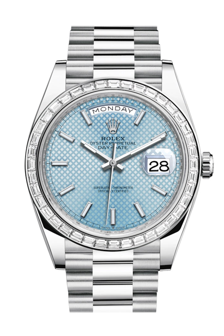 Rolex Day-Date 40 Ice Blue Diagonal Motif Roman Dial 40 Baguette Diamond Bezel Platinum President Automatic Men's Watch 228396TBR