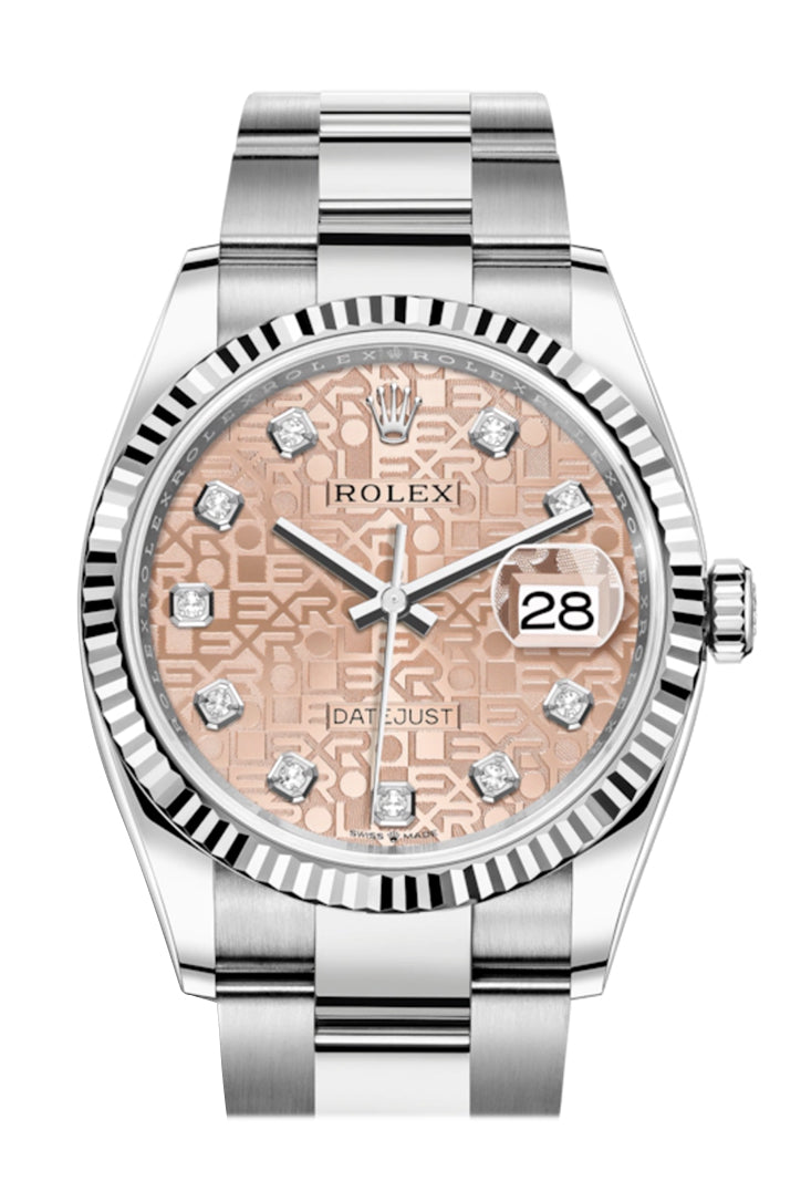 Rolex Datejust 36 Pink Jubilee DiamondDial Automatic Watch 126234