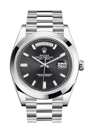 Rolex Day-Date 40 Black Baguette Diamond Dial Dome Bezel Platinum President Automatic Men's Watch 228206