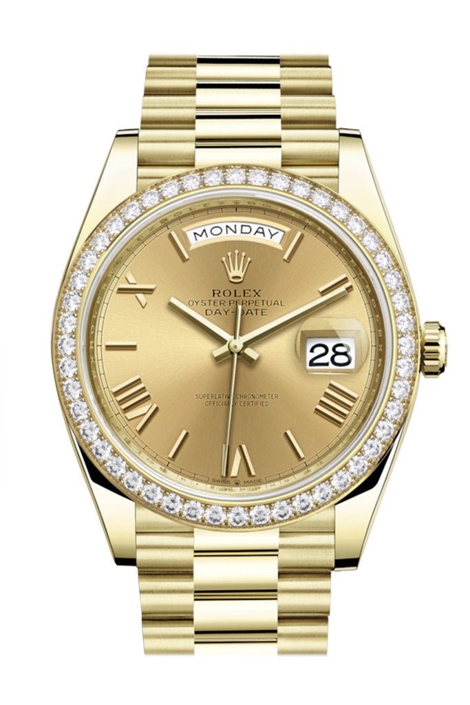 Rolex Day-Date 40 Champagne Roman Dial  Diamond Bezel 18K Yellow Gold President Automatic Men's Watch 228348