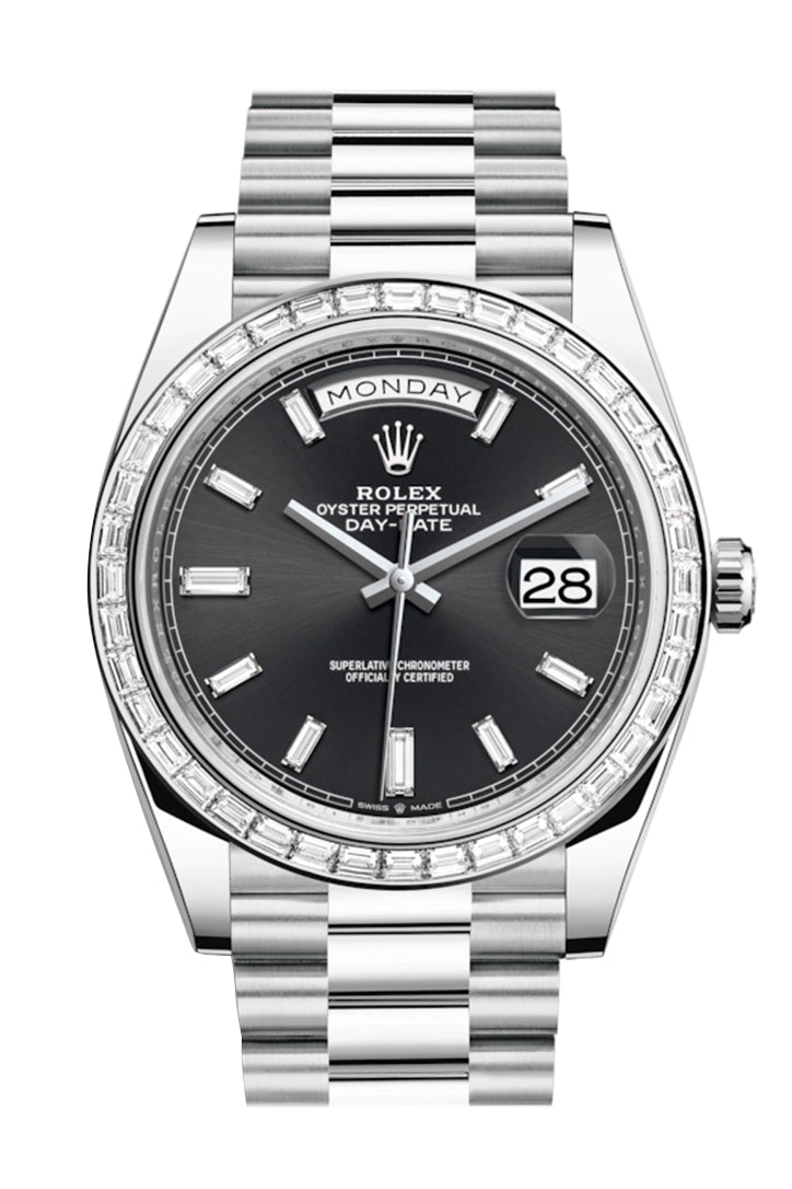 Rolex Day-Date 40 Black Baguette Diamond Dial 40 Baguette Diamond Bezel Platinum President Automatic Men's Watch 228396TBR