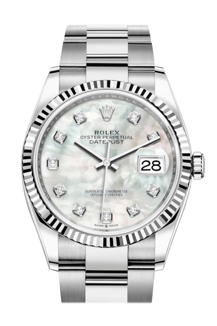 Rolex Datejust 36 White mother-of-pearl Diamond Dial Automatic Watch 126234