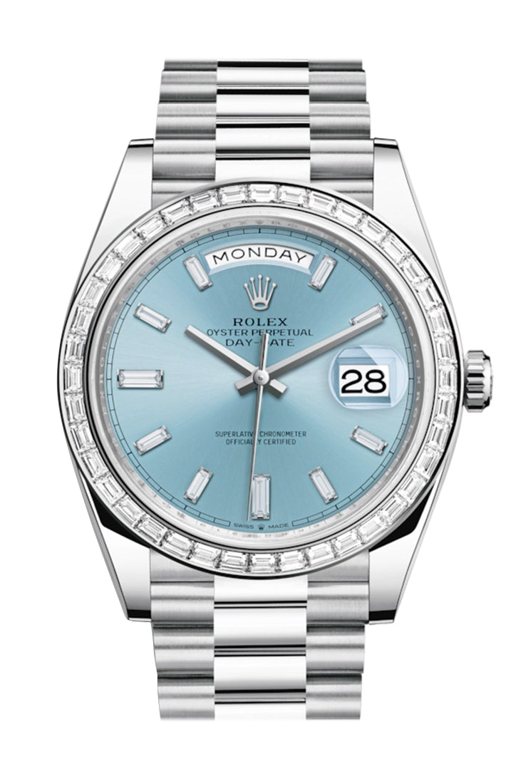 Rolex Day-Date 40 Ice Blue Baguette Diamond Dial 40 Baguette Diamond Bezel Platinum President Automatic Men's Watch 228396TBR