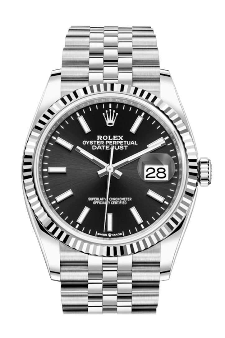 Rolex Datejust 36 Black Dial Automatic Jubilee Watch 126234