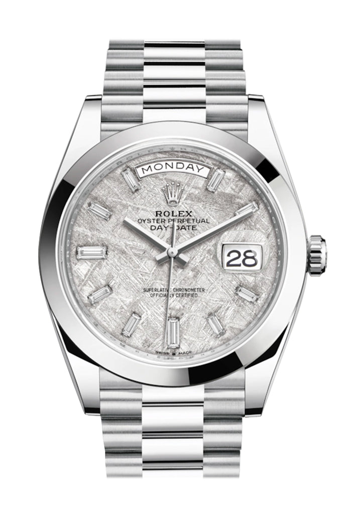 Rolex Day-Date 40 Meteorite Baguette Diamond Dial Dial Dome Bezel Platinum President Automatic Men's Watch 228206