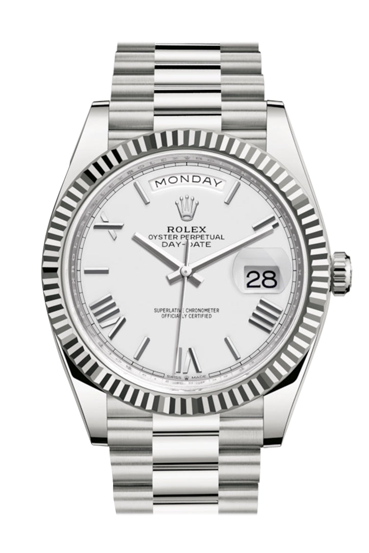 Rolex Day-Date 40 White Roman Dial Fluted Bezel White Gold President Automatic Men's Watch 228239