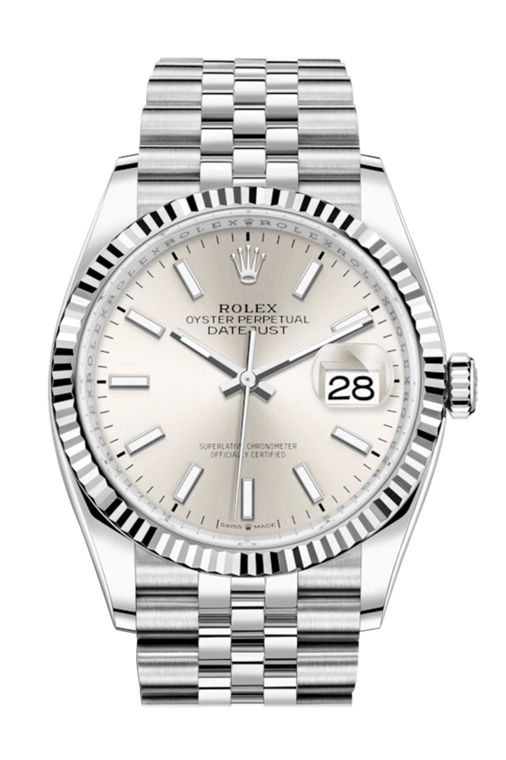 Rolex Datejust 36 Silver Roman Dial Automatic Jubilee Watch 126234